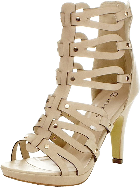 Top Moda Women's Spin-28 Gladiator High Heel Sandals