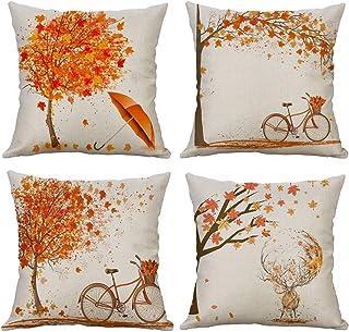 Gspirit 4 Pack otoño Arce Bicicleta Algodón Lino Throw
