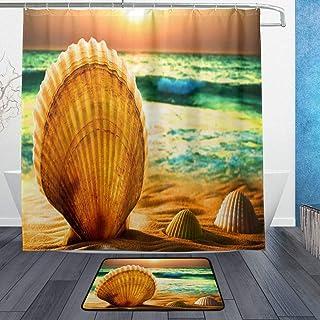 GooEoo 現代の家の装飾シーサイド背景パターンシャワーカーテン3dプリント防水コーティングされたポリエステル生地浴室付き12フック71インチ風呂敷物60×40センチ
