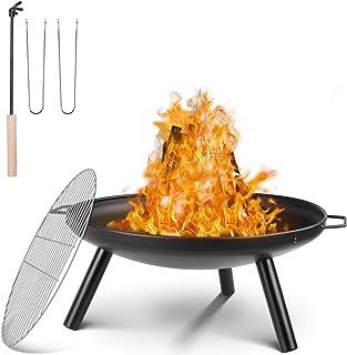 femor Feuerschale Durchmesser 59 cm, Feuerstelle mit Grillrost & Griffen, Multifunktional Fire Pit für Heizung/BBQ, Garten Feuerkorb & Grill, für Camping Picknick Garten, 68x59x28.5cm