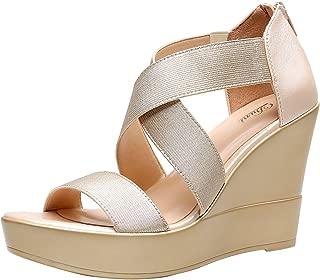 Women's AWE Zip Closure Crisscross Straps Platform Wedge Sandal Wedding Party Dress Shoe