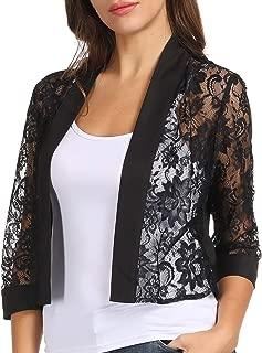 Women's 3/4 Sleeve Open Front Blazer Cropped Lace Bolero Shrug