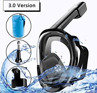 NONMON Full Face Snorkel Mask with Safety Breathing System-180°Panoramic View Snorkeling Mask Set with Camera Mount, Anti Fog Anti Leak for Adults & Kids