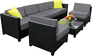 Mcombo Aluminum Patio Furniture Sectional Set Outdoor Wicker Sofa Black Rattan Chair Cozy Converstaion Set with Thick Cushions (6Inch) and Table All-Weather 6080-1007(Gray)