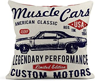 Newhomestyle Retro Car Vector Printing Graphics Decorative Throw Pillow Cover Farmhouse Couch Cushion Case Cotton Bed Pillow Case Two Sides Printed