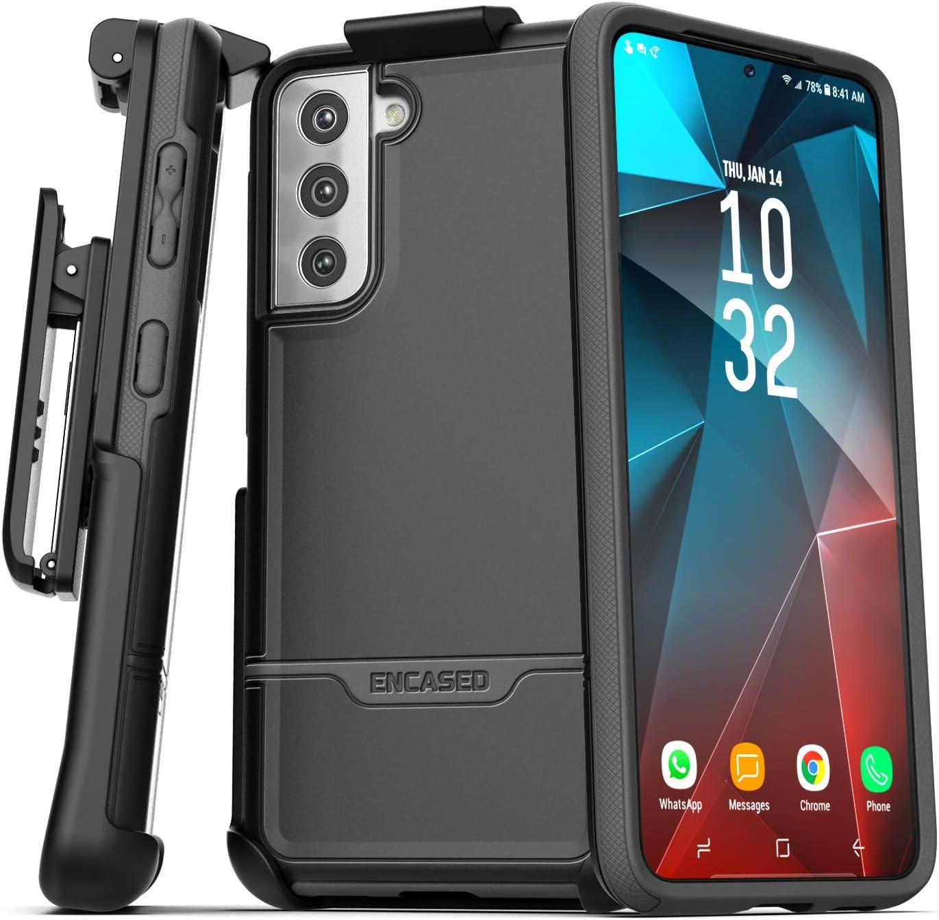 Encased Rebel Series Designed for Samsung Galaxy S21 Plus Belt Clip Case (2021) Protective Heavy Duty Holster Phone Case - Black