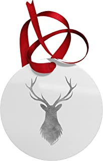 TOOLOUD Majestic Stag Distressed Circular Metal Christmas Ornament