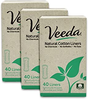 Veeda Ultra Thin Natural Cotton Breathable Daily Liners are Always Chlorine and Toxin Free, Hypoallergenic, 40 Count (Pack...