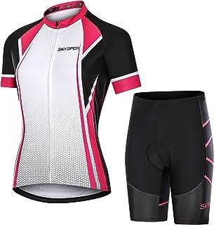 SKYSPER Ciclismo Maillot Mujer Jersey Pantalones Cortos Culote Mangas Cortas de Ciclismo Conjunto de Ropa Maillot Transpir...