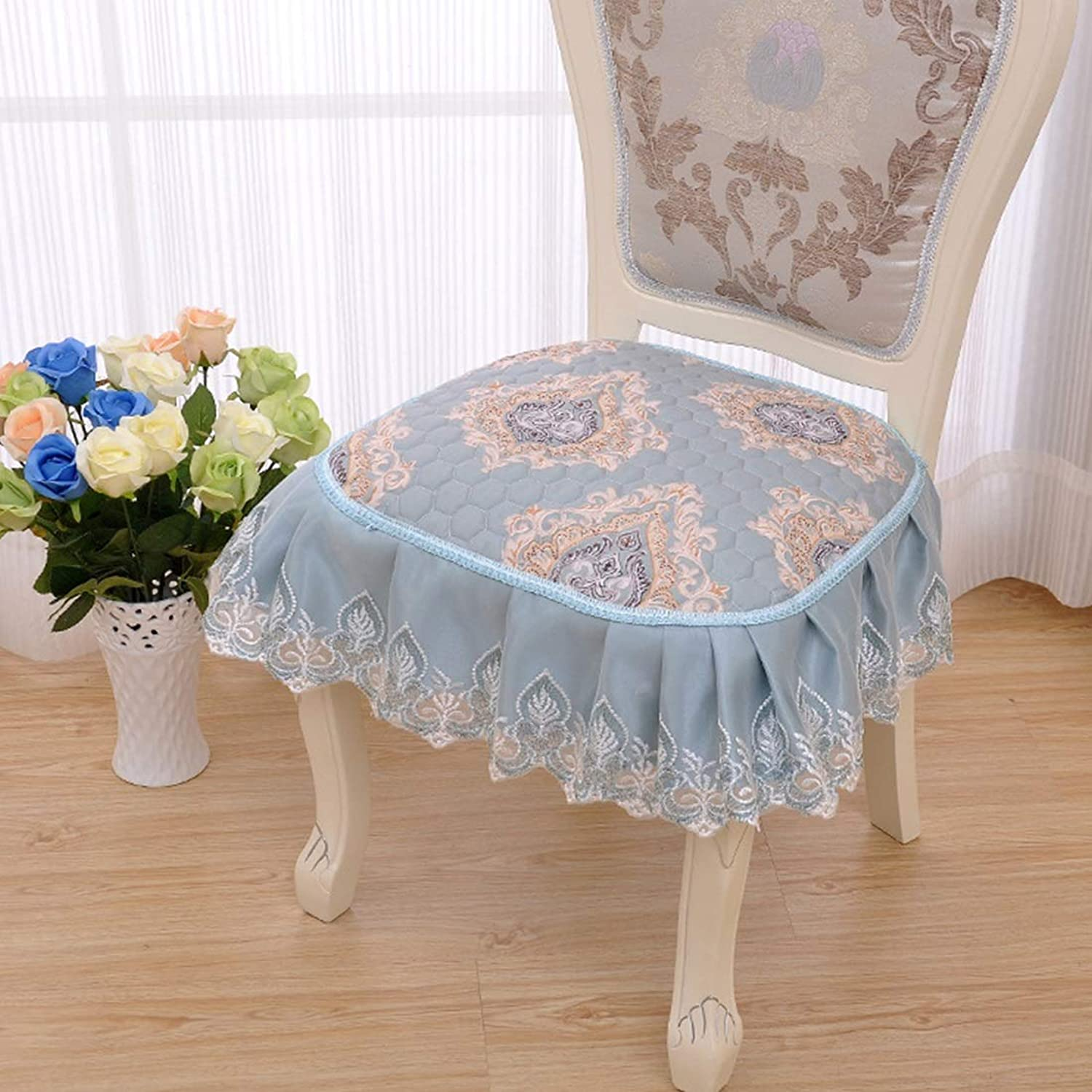 YY4 Lace Printed Dining Chair Mat Slip Resistant Strap Thickened Dining Chair Cushion (color   Emperor bluee)