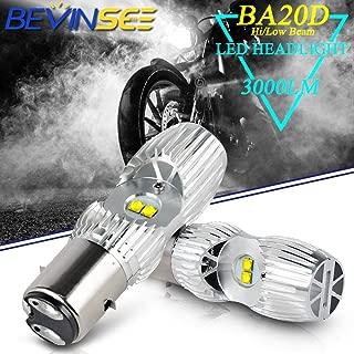 Bevinsee Motorcycle BA20D/H6 Headlight LED White Hi/Low Beam Bulbs, 2pcs