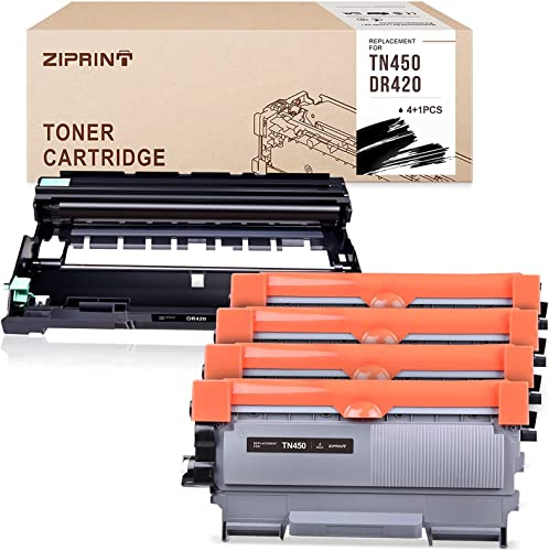 new arrival ZIPRINT Compatible Toner Cartridge Replacement for sale Brother TN450 TN 450 DR420 DR 420 TN420 to use with HL-2230 HL-2240 popular MFC-7360N MFC-7860DW DCP7065DN Fax 2840 (4 Toner + 1 Drum, 5-Pack) outlet sale