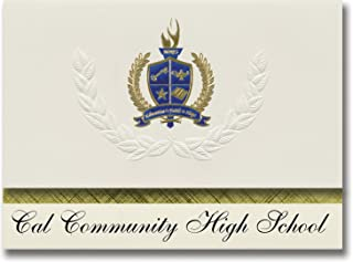 Signature Announcements Cal Community High School (Latimer, IA) Graduation Announcements, Presidential Style, Elite Package of 25 with Gold & Blue Metallic Foil Seal