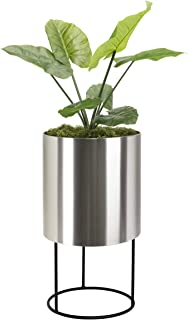 Modern Tall Planter Knox Brushed Stainless Steel Planter with Stand. Best Round Metal Planter Indoor Outdoor Pot 18