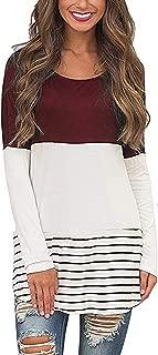 Women's Back Lace Color Block Tops Long Sleeve T-Shirts Blouses