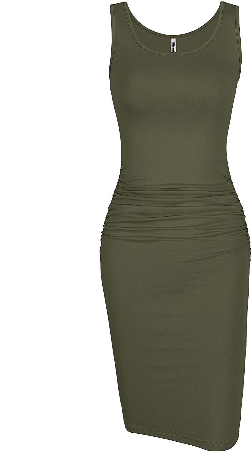 Missufe Women's Sleeveless Tank Ruched Casual Knee Length Bodycon Sundress Basic Fitted Dress