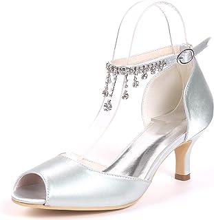 Mariage Confortables Talons Hauts, Sandales Peep Toe Talons Hauts, Chaussures De Mariage De Soie, Haut Peep Toe Talon Perl...