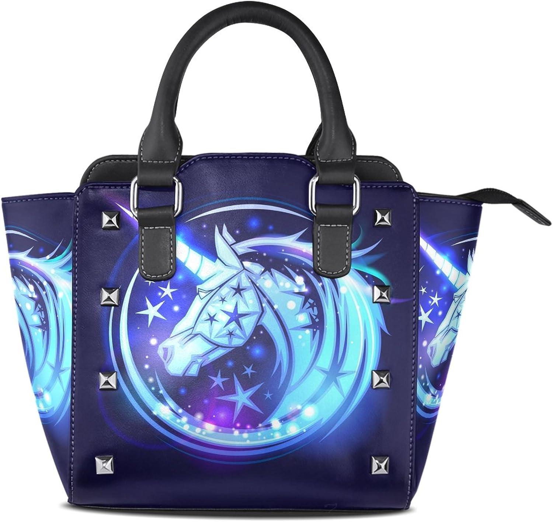 My Little Nest Women's Top Handle Satchel Handbag Unicorn Head with Stars Magic Neon Ladies PU Leather Shoulder Bag Crossbody Bag