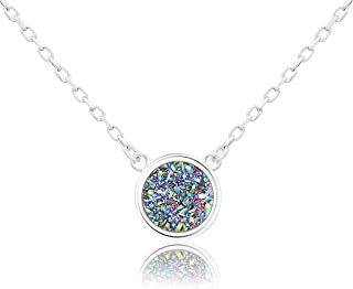 KristLand - 925 Silver Necklace Simple Style Natural Druzy Round Rainbow Stone Pendant Adjustable Chain