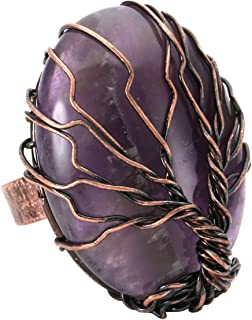 Handmade Retro Vintage Copper Wire Wrapped Tree of Life Oval Gemstone Healing Crystal Adjustable Ring Bronze Band Size 6 7 8