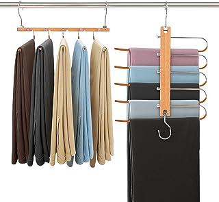 Cintre Pantalon,Cintre Gain de Place,5 en 1 Cintres Multiples,Hêtre Massif Acier Inoxydable,pour Jeans, Pantalons, Cravat...
