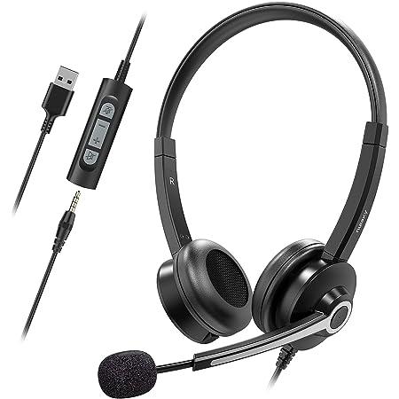 Nulaxy Auriculares con Micrófono para PC, Micrófono con Cancelación de Ruido y Control en Línea, USB/3,5 mm Auriculares Comerciales para Centros de Llamadas, Skype, Seminarios Web, Oficinas y Aulas.