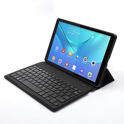 Jelly Comb Samsung Galaxy Tab 10 5 Tastatur H lle  Magnetische Schutzh lle mit Nicht Abnehmbarer Bluetooth Tastatur Deutsches QWERTZ Layout  f r Samsung Tab SM-T590 T595 10 5 Zoll  Schwarz