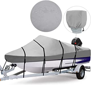 RVMasking Waterproof 800D Polyester Trailerable Full Size Boat Cover for V-Hull Runabouts Outboards and I/O Bass Boats, Mo...