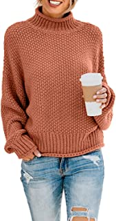 Women's Turtleneck Sweaters Long Batwing Sleeve Oversized...