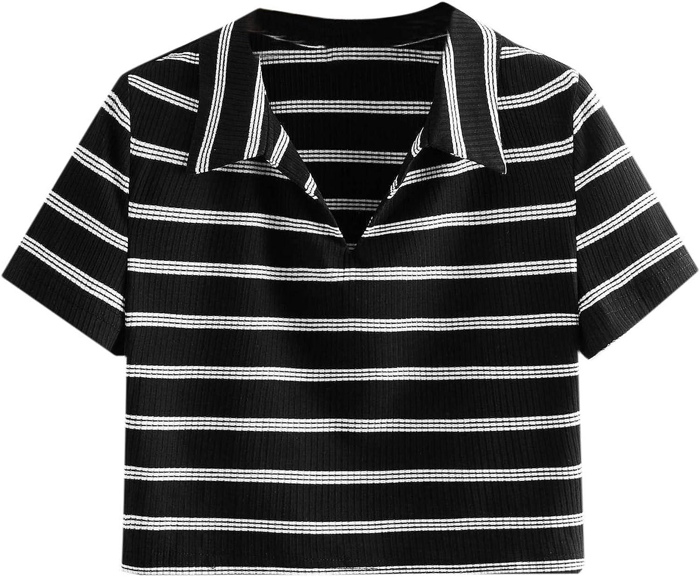 SweatyRocks Women's Collar Half Button Short Sleeve Striped Crop Top T-Shirts