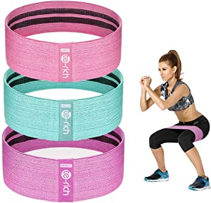 Te-Rich Resistance Bands for Legs and Butt, Fabric Workout Loop Bands, Set of 3