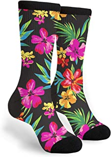 Packsjap Hawaiian Colorful Flower Men & Women Casual Cool Cute Crazy Funny Athletic Sport Colorful Fancy Novelty Graphic Crew Tube Socks