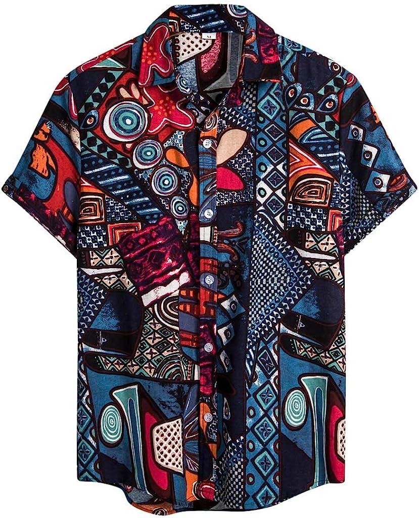 Mens Vintage Shirts Ethnic Printed Turn Down Collar Top Loose Casual Short Sleeve Shirt