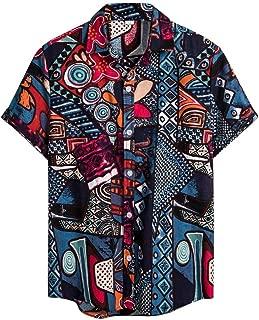 GDJGTA Shirts for Mens Hawaiian Printed Cotton Linen Loose Short Sleeve Casual Buttons T-Shirt