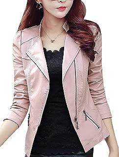 Women's Classic Asymmetrical Zip Faux Leather Moto Biker Jacket