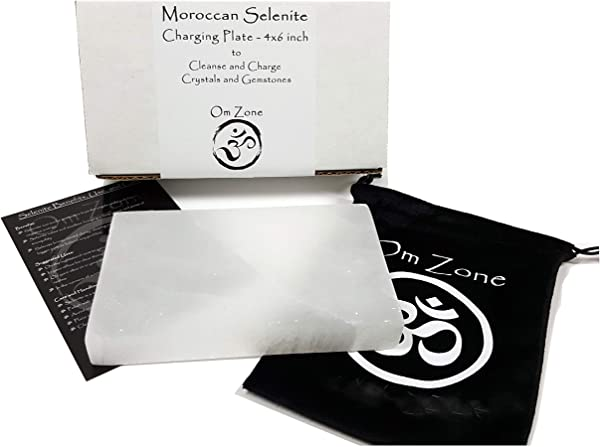 Om Zone Reiki Charged XXL 4 X 6 Inch Moroccan Selenite Charging Station Polished Flat Crystal Plate Tray Disc For Chakra Balance Healing Protection Crystal Recharge