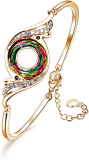 CILILI Phoenix Pendant Necklace Dangle Drop Earrings Bangle Bracelets with Swarovski Crystals Jewelry Set Gift for Women Girls