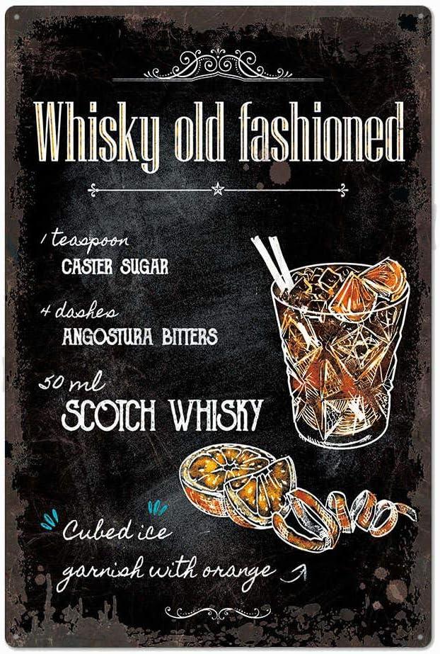 Metal Sign Plaque Brandy Cocktail Recipes Drink Kitchen Bar Steel Plaque 15x20cm