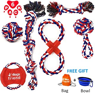 Dog Cotton Rope Toys Set for Medium and Large Dogs Who Love to Play Rough and are Aggressive Chewers. Almost Indestructible, Washable Dental Floss, Tough Tug of War/Chewing Toys - (6 pack + Bonus)