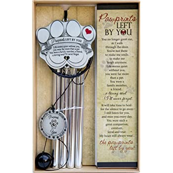 "Pet Memorial Wind Chime - 18"" Metal Casted Pawprint Wind Chime - A Beautiful Remembrance Gift for a Grieving Pet Owner - Includes Pawprints Left by You Poem Card"