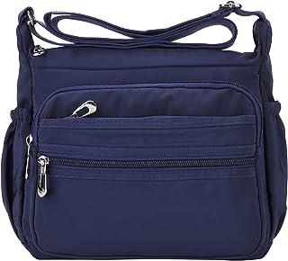 NOTAG Sac Bandoulière Femme, Cusual Multi-Poches Sac Messenger en Nylon Imperméable Crossbody Bag (L, Bleu)