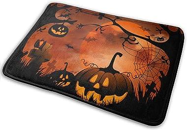 CUICAN Happy Halloween Graphic Halloween Mat Pumpkin Doormat Halloween Pumpkin Entry Carpet Halloween Decoration Mat Kitchen