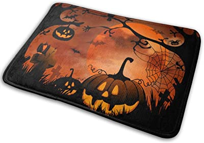 CUICAN Happy Halloween Graphic Halloween Mat Pumpkin Doormat Halloween Pumpkin Entry Carpet Halloween Decoration Mat Kitchen Rubber Floor Doormat for Indoor Outdoor One Size