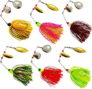 JSHANMEI Fishing Spinnerbait Lures Kit, Hard Metal Spinner Bait Jig Lures Buzzbait Swimbait for Pike Bass Trout Salmon Freshwater Saltwater Fishing