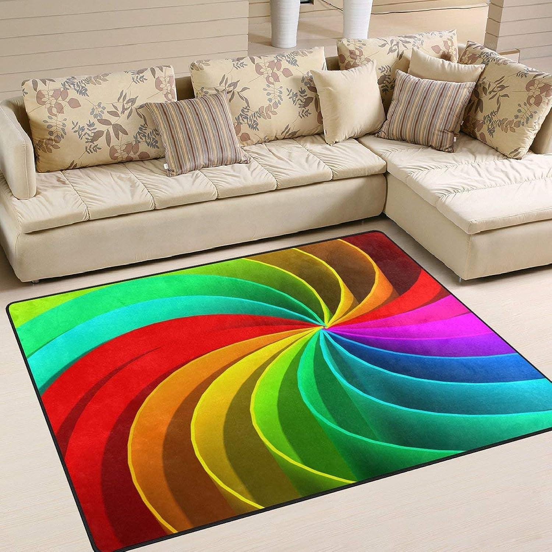 colorful Trippy Rainbow for Floor Mat Rug Indoor Front Door Kitchen and Living Room Bedroom Mats Rubber Non Slip