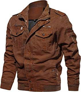 Mens Outdoor Military Jacket Casual Cargo Cotton Stand Collar Windbreaker Bomber Jacket