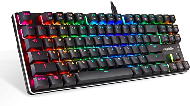 EagleTec KG060-BR Mechanical Gaming Keyboard, Compact Low Profile, 87 Key Tenkeyless with Cherry MX Brown Switches for PC Gamer (Black RGB LED Backlit)