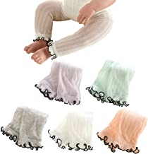 Sywwlov 5 Pack Baby Girls Summer Ruffle Footless Legging Tights Toddler Cotton Knit Ankle Stocking Pants