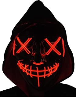 Scary Halloween Mask LED Light Up Mask for Festival Cosplay Halloween Festival Parties (White/Black)