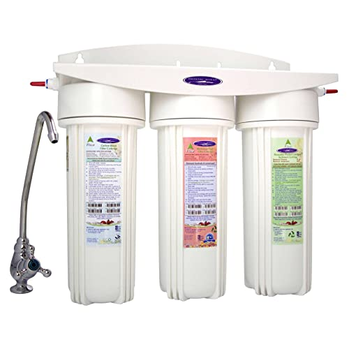Stainless Steel CRYSTAL QUEST countertop Replaceable Single Fluoride Multi PLUS Water Filter System